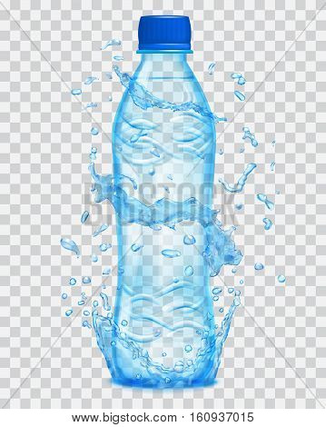 Transparent Water Splashes In Light Blue Colors Around A Transparent Plastic Bottle