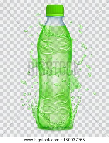 Transparent Water Splashes In Green Colors Around A Transparent Plastic Bottle With Green Juice