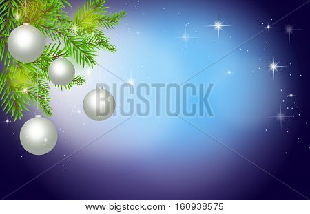 Illustration of blue christmas background with christmas bulbs and needles