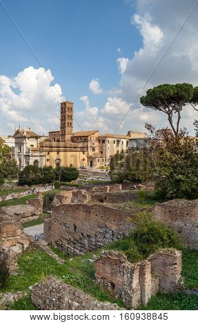 Remains Of Ancient Buildings In The Roman Forum