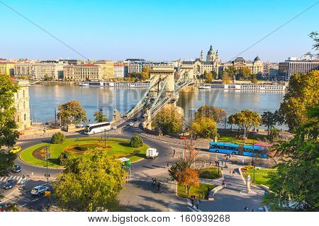 skyline panorama of Budapest, Hungary with Danube, chain bridge, ships and houses street view