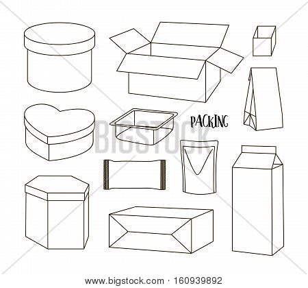 Cardboard Boxes Set Opened Closed Sealed with Tape Dispenser Big or Small Delivery Format. Vector Flat Style Isolated on White Background. Delivery Object Infographic for Holiday Gift Package