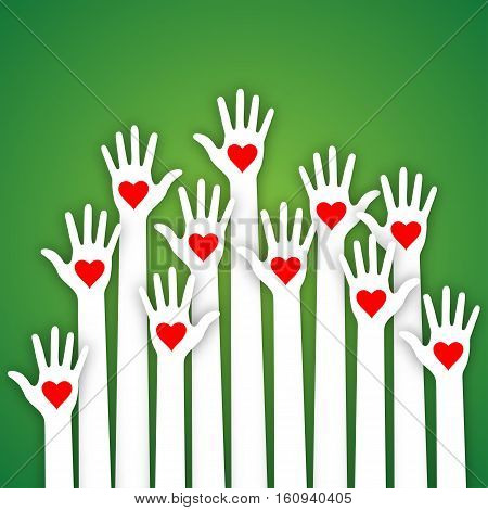 White paper caring up hands red hearts vector Volunteers lillustration
