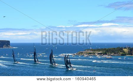 Sydney Australia - December 26 2013. Wild Oats leading and approaching North Head. The Sydney to Hobart Yacht Race is an annual event starting in Sydney on Boxing Day and finishing in Hobart.
