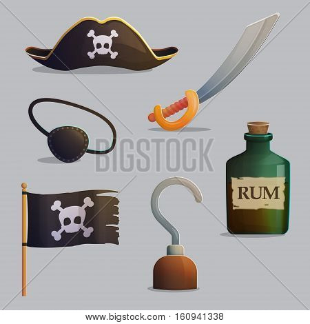 Collection of pirate ship accessories and symbols. Cross bones and scull, pirate hat, saber and hand hook. Game and app ui icons.