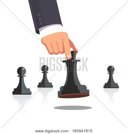 Business man hand making a strategic chess move with white queen piece with support of her pawns. Modern flat style concept vector illustration isolated on white background.