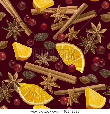 Decorative vector seamless pattern with spices and ingredients for mulled wine. Orange, cranberry, cinnamon, star anise, cardamom and nutmeg on dark red background.