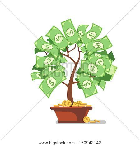Growing money tree. Green cash banknotes and coins sprouts rising from ceramic pot. Modern flat style concept vector illustration isolated on white background.