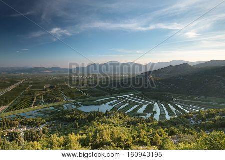 Sunrise over the valley of the Neretva in Croatia.