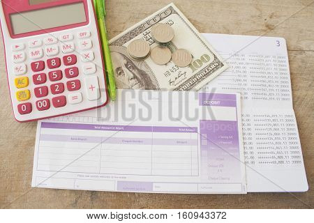 project planner yearly passbook bank with bill deposit for finance expense and income