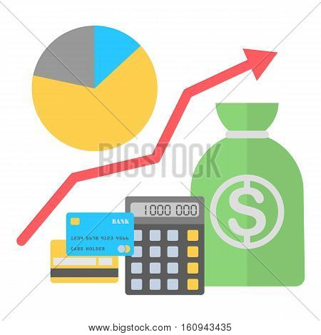 Vector illustration in flat style. Finance growing concept.