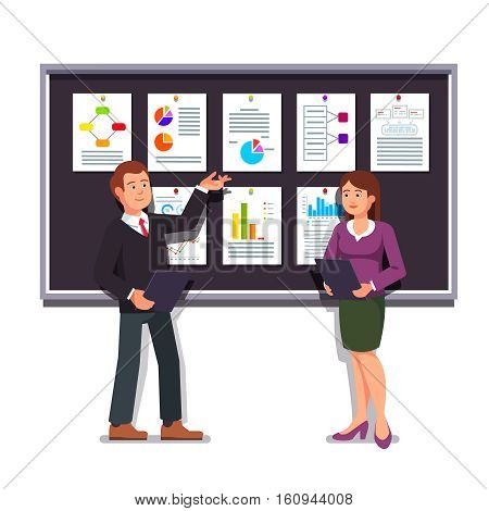 Young entrepreneurs man and woman showing startup business project plan presentation on a black display board. Modern flat style vector illustration isolated on white background.
