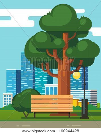 City park bench under a big green oak tree with downtown skyscrapers in the background. Modern flat style vector illustration.