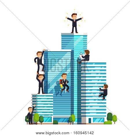 Business ascension competition in achieving success. Little businessman climbing high wall street skyscrapers to reach the top and win. Flat style vector illustration isolated on white background.