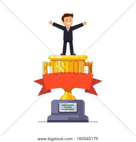 Business leader standing on big winner golden cup pedestal spreading his hands in triumph gesture celebrating achievement. Modern flat style vector illustration isolated on white background.