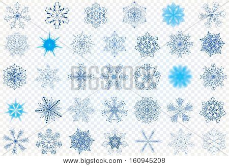 Set vector snowflakes on a transparent background