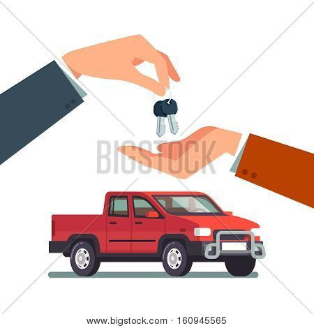 Buying or renting a new or used pickup truck. Car dealer giving keychain to a buyer hand. Modern flat style vector illustration isolated on white background.