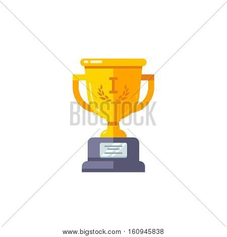 First place golden cup championship prize. Modern flat style vector illustration isolated on white background.