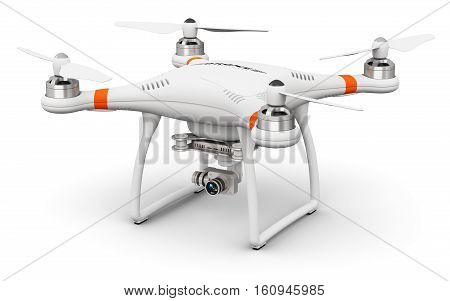 Creative abstract 3D render illustration of professional remote controlled wireless RC quadcopter drone with 4K video and photo camera for aerial photography isolated on white background
