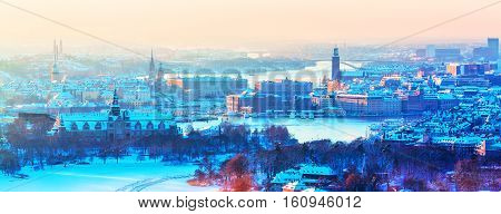 Scenic winter aerial panorama of the Old Town (Gamla Stan) architecture in Stockholm, Sweden