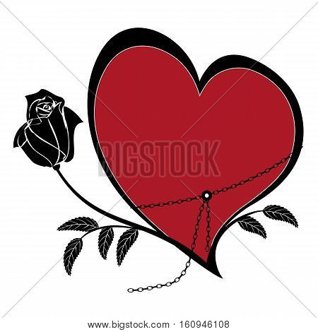 vector frame with rose and heart in black white and red colors