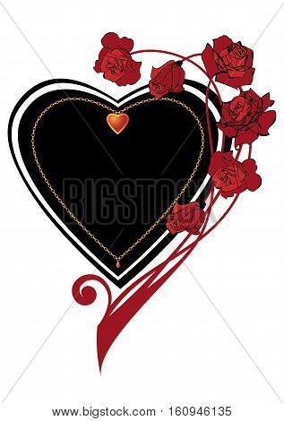 ornate Valentine vector frame with rose and heart