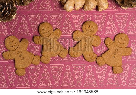 Christmas smiling gingerbread men men and women onbackground with Christmas decoration