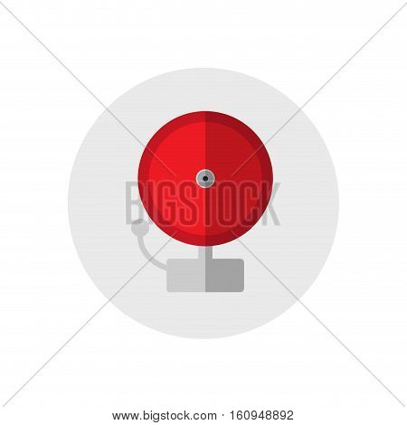 Red ringing alarm bell. Single silhouette fire equipment icon. Vector illustration. Flat style