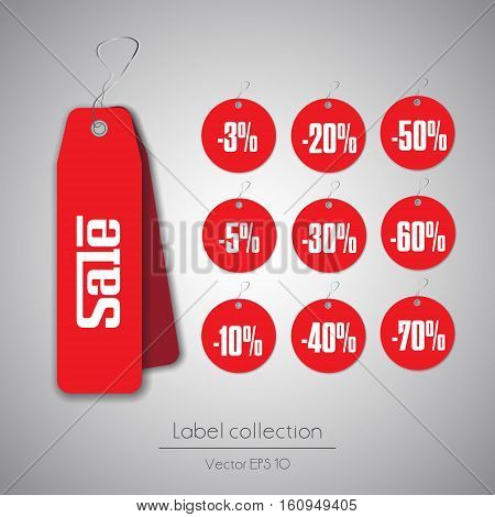 Label hanging tag round red sale collection illustration on gray background