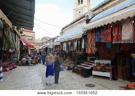 Jerusalem, Israel - November 2, 2016: Jerusalem old City, a popular place for tourists and local People. There are many shops and Bars