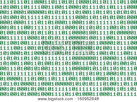 Binary Numbers Isolated Over White