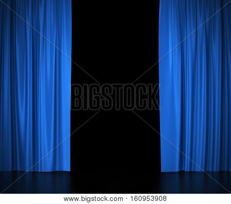 Open blue silk curtains for theater and cinema spotlit light in the center. 3d illustration High resolution