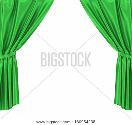 Green silk curtains with garter isolated on white background. 3d illustration High resolution.