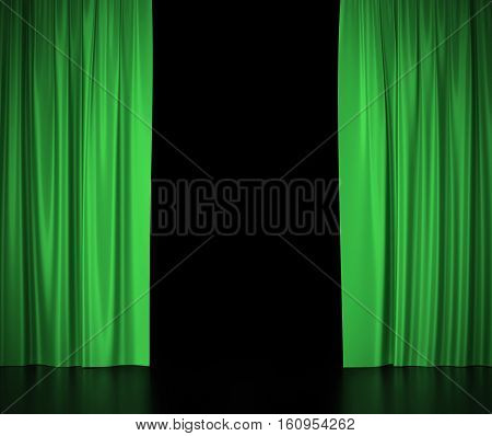 Green silk curtains for theater and cinema spotlit light in the center. 3d illustration.