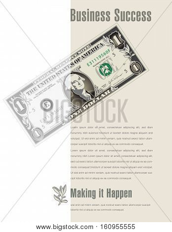 Business Success ad with a dollar bill for print or web