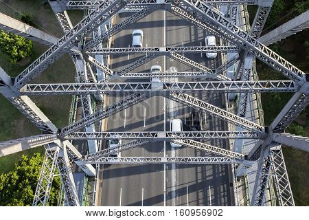 Brisbane city traffic and Brisbane Story Bridge architecture, viewed from above