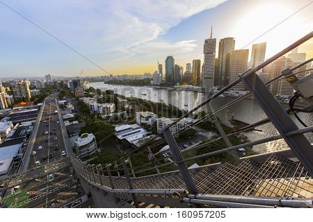 BRISBANE, AUSTRALIA - December 5 2016: Brisbane Story Bridge stairway and view of Kangaroo Point and Brisbane City sunset.