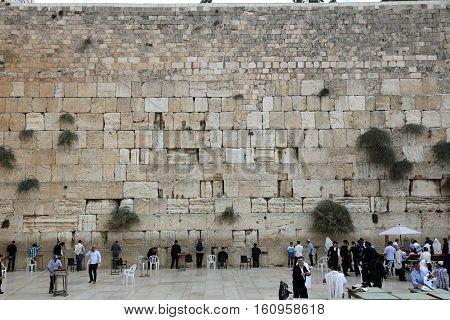 Jerusalem, Israel - November 2 , 2016: Orthodox Jewish Men at the Western Wall in Jerusalem, Judaism's holiest site. Israel