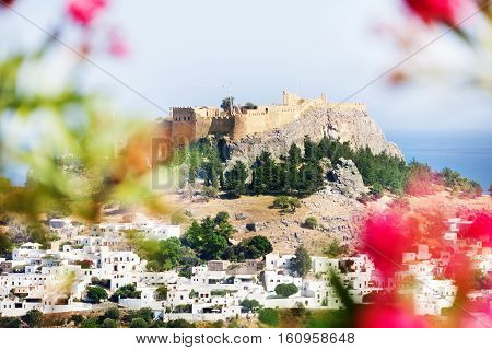 Beautiful view of Lindos village and Acropolis, Rhodes, Greece