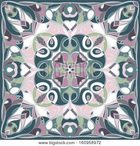 Traditional ornamental green and lilac bandanna. You can use this pattern in the design of carpet shawl pillow cushion.