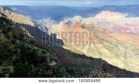 Rock formations in the Grand Canyon National Park in the United States of America view from Desert View
