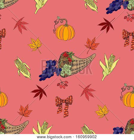 Seamless pattern for Thanksgiving  decoration.  Hand drawn elements with pumpkin, corn, grapes, maple.Vector Illustration