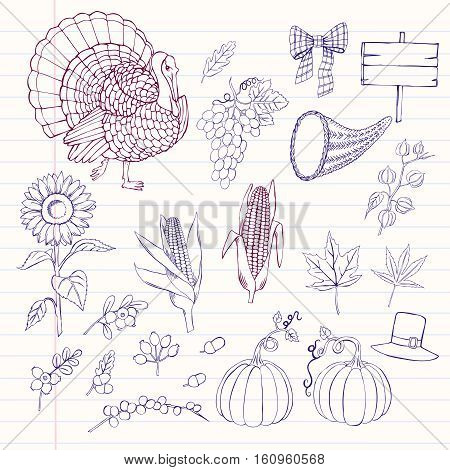 Thanksgiving day. Notebook with set of  hand drawn elements. Can be used for backgrounds and cards for Thanksgiving   decorations. Pumpkin, turkey, harvest, autumn. Vector Illustration