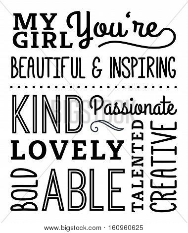 My Girl Compliments Poster, typography design with positive adjectives, design elements in black on white background