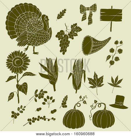 Thanksgiving day. Set of  hand drawn silhouettes. Can be used for backgrounds and cards for Thanksgiving   decorations. Pumpkin, turkey, harvest, autumn. Vector Illustration