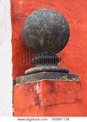 Gatepost finial and wall at Ladys Lodge in Portmeirion Wales