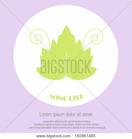 Wine list restaurant menu template. Line style, green leaf with swirls, Lorem ipsum on white. Perfect wine design element stock vector illustration