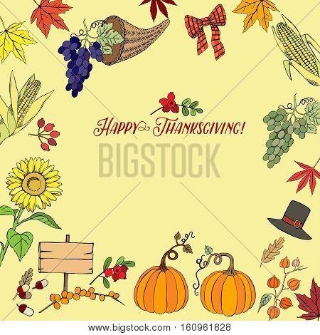 Thanksgiving day. Background with hand drawn elements. Pumpkin, turkey, harvest, autumn. Vector Illustration