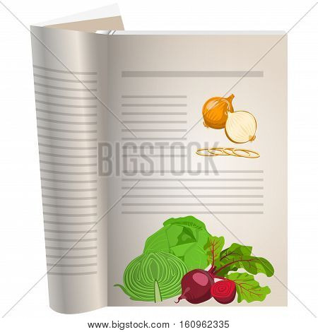 Template pages of a cookbook. You can have there favorite recipes. onion whole and sliced. Cabbage and beets. The template for the layout of text recipes.