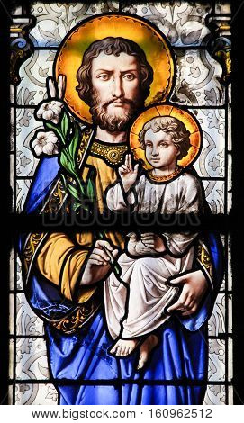 Stained Glass - Saint Joseph And Jesus As A Child